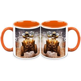 HomeSoGood Automobile Used In Dirt Racing White Ceramic Coffee Mug - 325 ml (Set Of 2) (BHOMESGMUGB174-A)