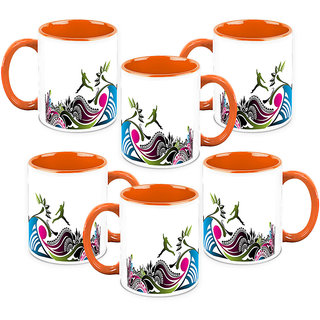 HomeSoGood Jumping The Highest Coffee Mugs (6 Mugs) (HOMESGMUG1022-B)