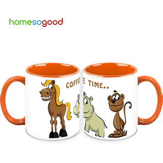 HomeSoGood Waiting For Their Coffee Mugs (2 Mugs) (HOMESGMUG720-A)