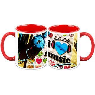 HomeSoGood Music Stays In Heart White Ceramic Coffee Mug - 325 ml (Set Of 2) (HOMESGMUG2358-A)