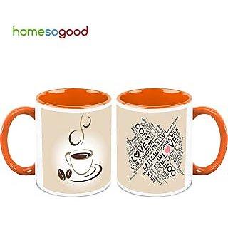 HomeSoGood Coffee Is Love Coffee Mugs (2 Mugs) (HOMESGMUG496-A)