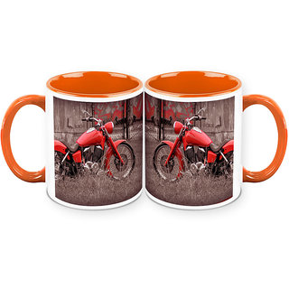 HomeSoGood The Two Wheeled Vintage Automobile White Ceramic Coffee Mug - 325 ml (Set Of 2) (CHOMESGMUGC127-A)