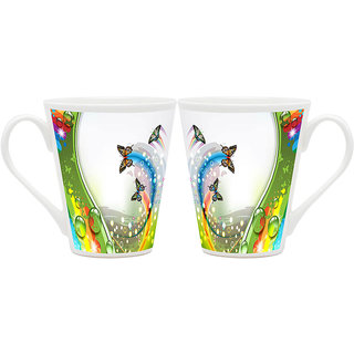 HomeSoGood Sparkling Path Of Butterfly Latte Coffee Mugs (2 Mugs) (HOMESGMUG1838-A)