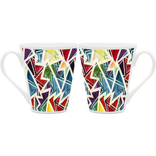 HomeSoGood Colorful Torn-ed Pages Latte Coffee Mugs (2 Mugs) (HOMESGMUG1850-A)