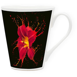 HomeSoGood Color Dripping From Flower Latte Coffee Mug (HOMESGMUG1725)