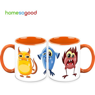 HomeSoGood Funny Cartoon Creatures Coffee Mugs (2 Mugs) (HOMESGMUG716-A)
