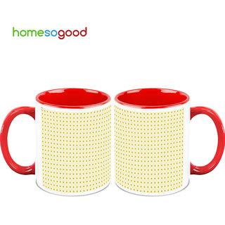 HomeSoGood Equidistant Square Structures Coffee Mugs (2 Mugs) (HOMESGMUG745-A)