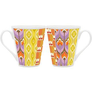 HomeSoGood Abstract Fruit Painting Latte Coffee Mugs (2 Mugs) (HOMESGMUG1890-A)