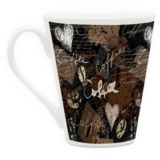 HomeSoGood Coffee Wall Painting Latte Coffee Mug (HOMESGMUG1705)