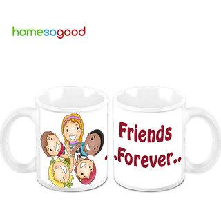 HomeSoGood Friend Forever Creamic Coffee Mugs (2 Mugs) (HOMESGMUG447-A)