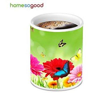 HomeSoGood Multicolor Flower Printed Round Coffee Mug (HOMESGMUG038)