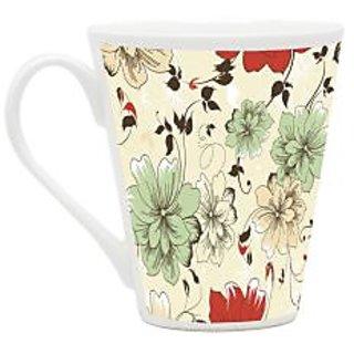 HomeSoGood Collection Of Beautiful Flowers Latte Coffee Mug (HOMESGMUG1703)