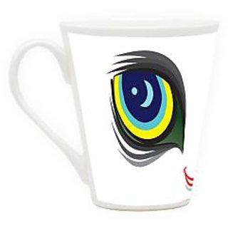 HomeSoGood Eyes On Feather Latte Coffee Mug (HOMESGMUG1709)