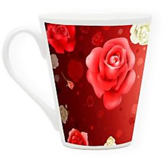 HomeSoGood Pool Of Flowers Latte Coffee Mug (HOMESGMUG1720)