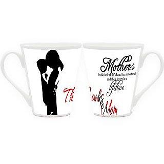 HomeSoGood Thank You Mom Latte Coffee Mugs (2 Mugs) (HOMESGMUG1824-A)