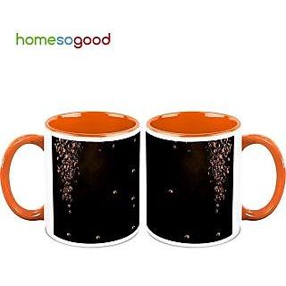 HomeSoGood Falling Coffee Beans Coffee Mugs (2 Mugs) (HOMESGMUG490-A)