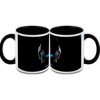HomeSoGood Live The Music White Ceramic Coffee Mug - 325 ml (Set Of 2) (HOMESGMUG2105-A)