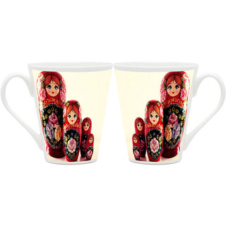 HomeSoGood Collection Of Beautiful Dolls Latte Coffee Mugs (2 Mugs) (HOMESGMUG1915-A)
