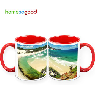 HomeSoGood Beautiful Beach Coffee Mugs (2 Mugs) (HOMESGMUG387-A)