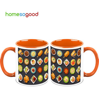 HomeSoGood Menu For The Day Coffee Mugs (2 Mugs) (HOMESGMUG705-A)