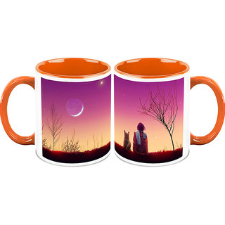 HomeSoGood Sunset With My Pet Coffee Mugs (2 Mugs) (HOMESGMUG1426-A)