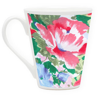 HomeSoGood Artistic Floral Painting Latte Coffee Mug (HOMESGMUG1735)