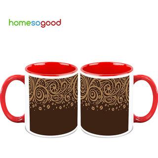 HomeSoGood Random Art On Chocolate Background Coffee Mugs (2 Mugs) (HOMESGMUG735-A)