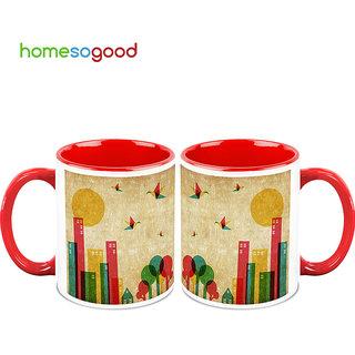 HomeSoGood City Life Coffee Mugs (2 Mugs) (HOMESGMUG751-A)