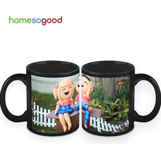 HomeSoGood The Laughing Dolls Coffee Mugs (2 Mugs) (HOMESGMUG430-A)