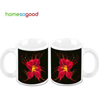 HomeSoGood Dynamic Flower Art Creamic Coffee Mugs (2 Mugs) (HOMESGMUG466-A)