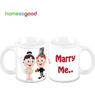 HomeSoGood Will You Marry Me Creamic Coffee Mugs (2 Mugs) (HOMESGMUG471-A)