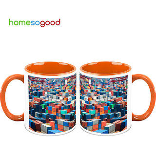 HomeSoGood Container Yard Coffee Mugs (2 Mugs) (HOMESGMUG699-A)