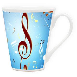 HomeSoGood Flying Musical Symbols Latte Coffee Mug (HOMESGMUG1712)