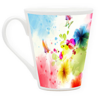 HomeSoGood Butterfly And Colorful Clouds Latte Coffee Mug (HOMESGMUG1734)