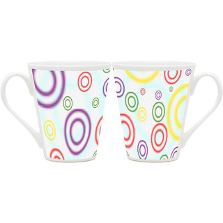 HomeSoGood Ocean Of Rings Latte Coffee Mugs (2 Mugs) (HOMESGMUG1886-A)
