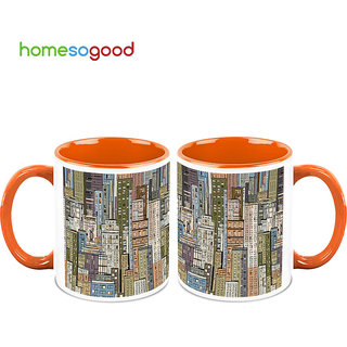 HomeSoGood View From Skyscrapers Coffee Mugs (2 Mugs) (HOMESGMUG702-A)