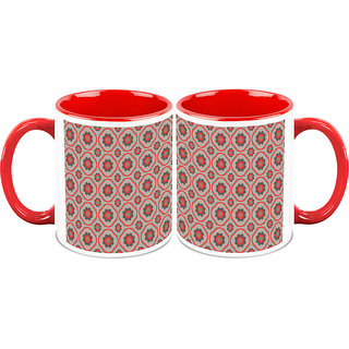 HomeSoGood Red And Black Patterns Coffee Mugs (2 Mugs) (HOMESGMUG1068-A)