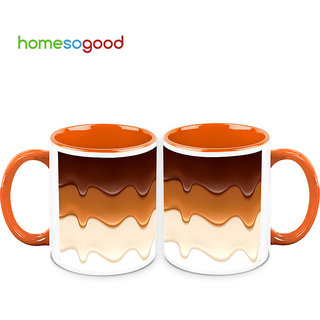 HomeSoGood Delicious Flowing Cream Coffee Mugs (2 Mugs) (HOMESGMUG704-A)