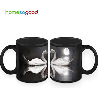 HomeSoGood Swan And The Rising Moon Coffee Mugs (2 Mugs) (HOMESGMUG408-A)