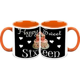 HomeSoGood Sweet Sixteen Birthday Coffee Mugs (2 Mugs) (HOMESGMUG1431-A)