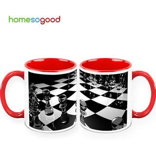 HomeSoGood Check Mate Coffee Mugs (2 Mugs) (HOMESGMUG394-A)