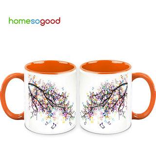 HomeSoGood Branches Of Music Coffee Mugs (2 Mugs) (HOMESGMUG696-A)
