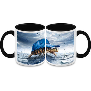 HomeSoGood Tortoise In Rain Coffee Mugs (2 Mugs) (HOMESGMUG1477-A)