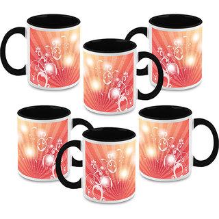 HomeSoGood Light Rays With Flora Coffee Mugs (6 Mugs) (HOMESGMUG1490-B)
