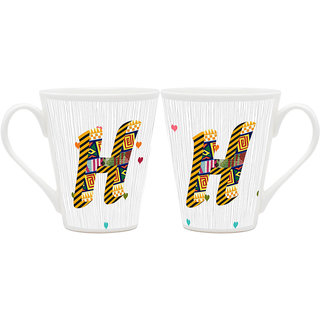 HomeSoGood 'H' Alphabet Design Patterns Latte Coffee Mugs (2 Mugs) (HOMESGMUG1821-A)