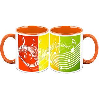 HomeSoGood The Great Musical Path White Ceramic Coffee Mug - 325 ml (Set Of 2) (HOMESGMUG2350-A)