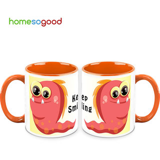 HomeSoGood Keep Smiling Coffee Mugs (2 Mugs) (HOMESGMUG709-A)