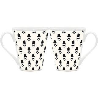 HomeSoGood Gentlemen With Hat Latte Coffee Mugs (2 Mugs) (HOMESGMUG1849-A)