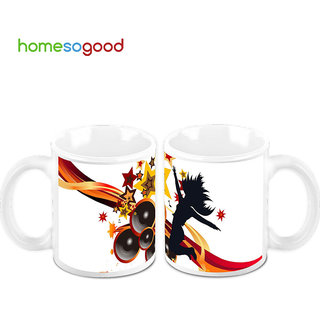 HomeSoGood Let The Music Play Creamic Coffee Mugs (2 Mugs) (HOMESGMUG478-A)