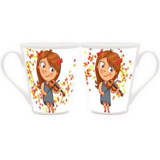 HomeSoGood Learning The Violin Latte Coffee Mugs (2 Mugs) (HOMESGMUG1814-A)